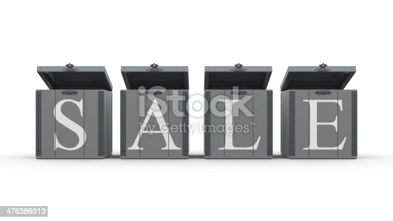 Boxes with a word Sale on white background, three-dimensional rendering