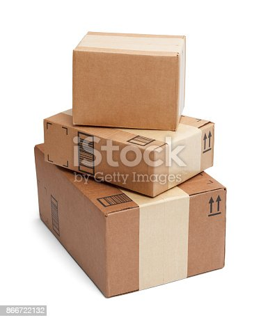 Three Boxes Stacked Tall Isolated on White Background.