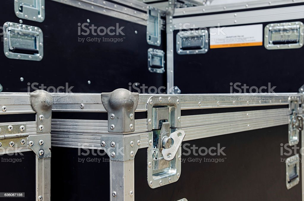 Boxes stage equipment for a concert stock photo