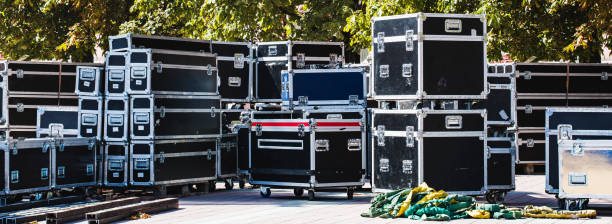 Boxes stage equipment stock photo