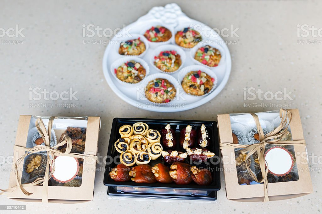 Boxes with dietary desserts stock photo