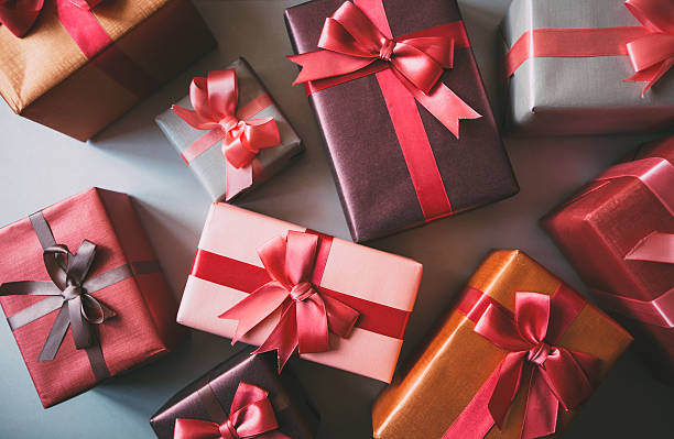 boxes with gifts. - birthday gift stock photos and pictures