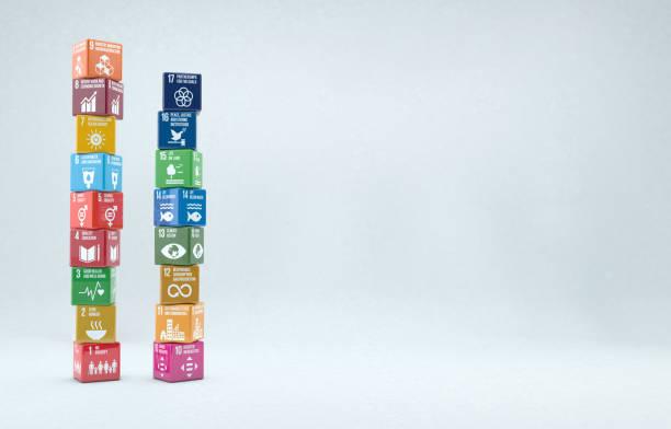 コピースペースを備えた持続可能な開発目標2030を持つ3dボックス - sustainability ストックフォトと画像