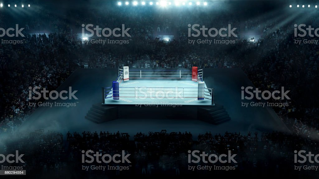 Boxing arena with stadium light stock photo