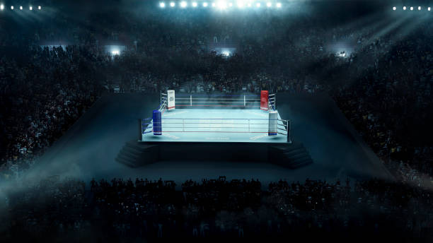 boxing arena with stadium light - combat sport stock pictures, royalty-free photos & images