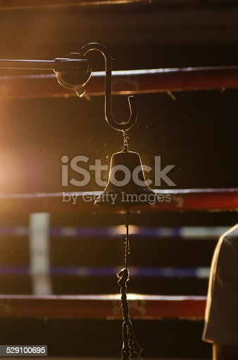 Boxing Bell Front of Empty boxing ring