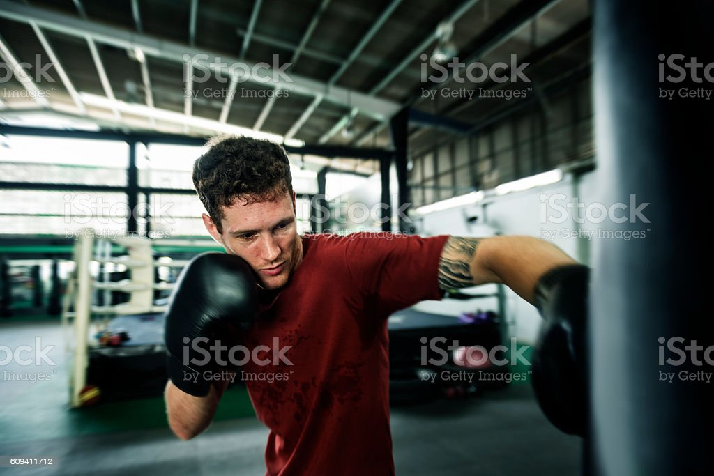 Boxing Challenge Exercise Sport Workout Pratice Concept stock photo