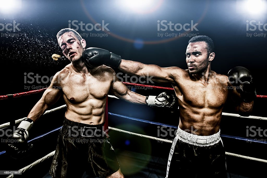 Boxing combat stock photo