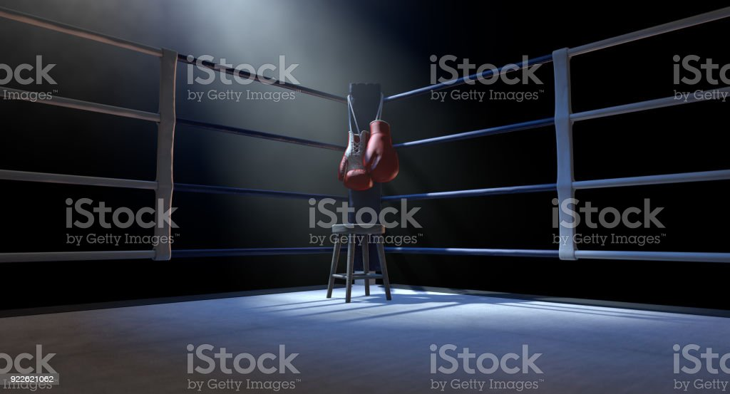 Boxing Corner And Boxing Gloves stock photo