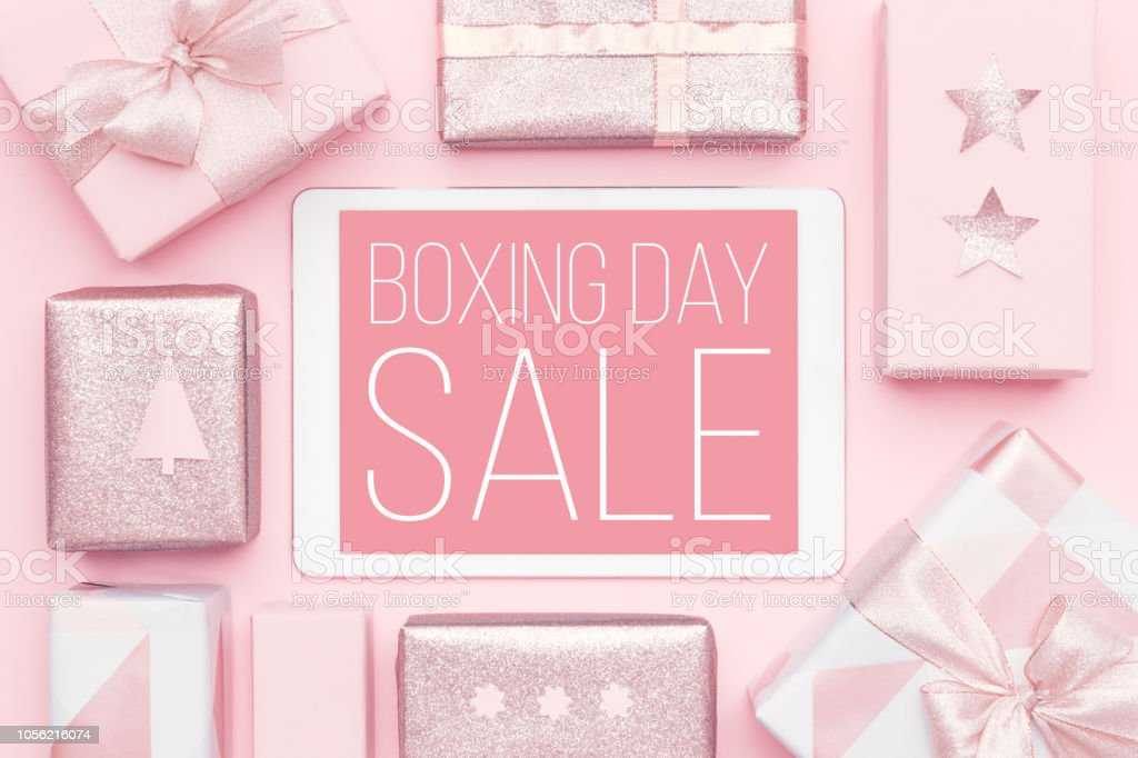 Boxing Day Sale Background. Online Shopping, Christmas Sale Concept. stock photo