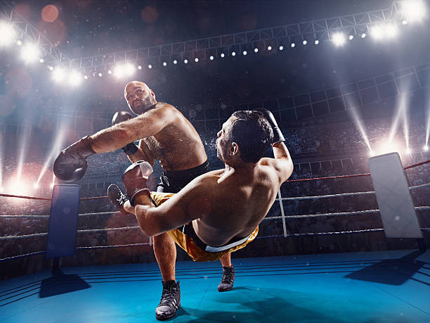 Boxing: extremely powerful punch - fotografia de stock