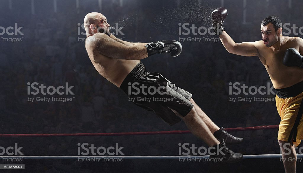 Boxing: Extremely powerful punch stock photo