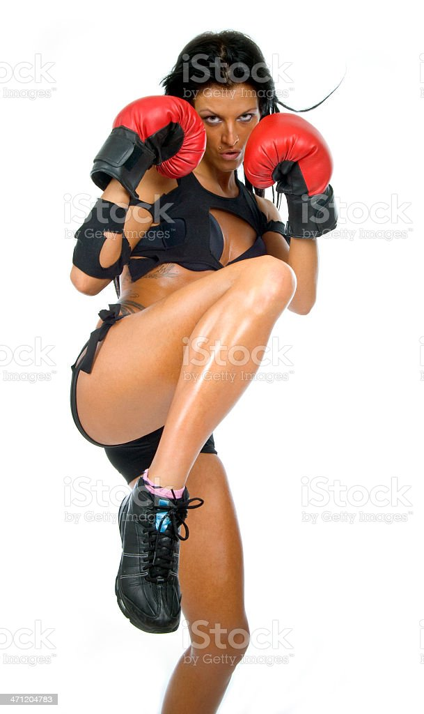 Boxing girl. stock photo