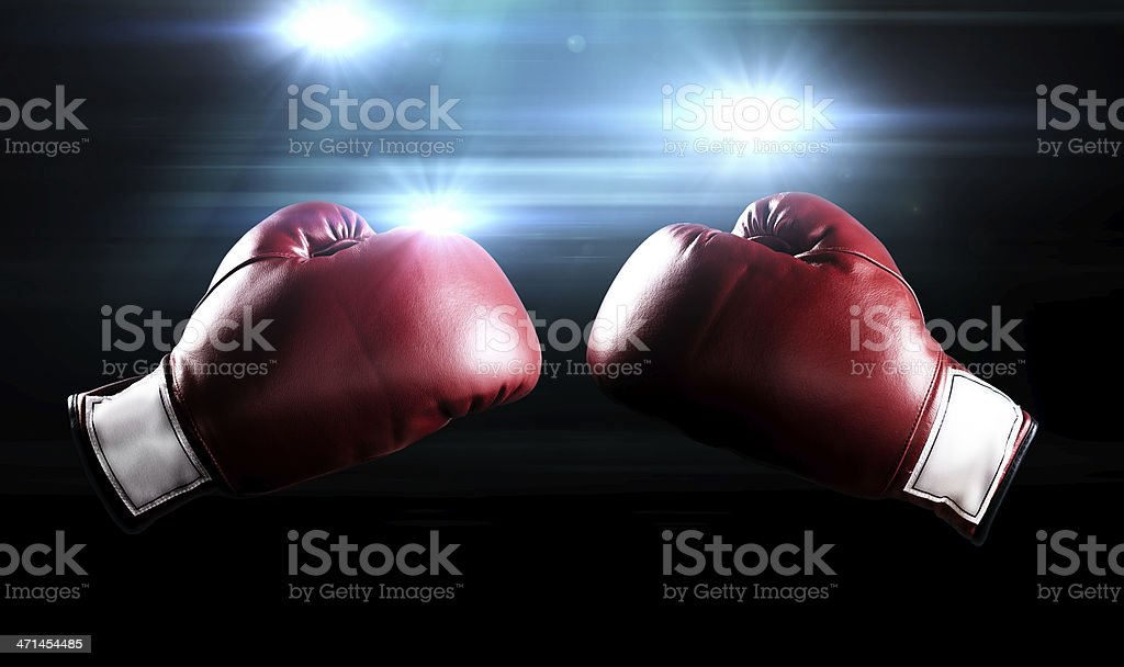 Boxing gloves and flashes stock photo