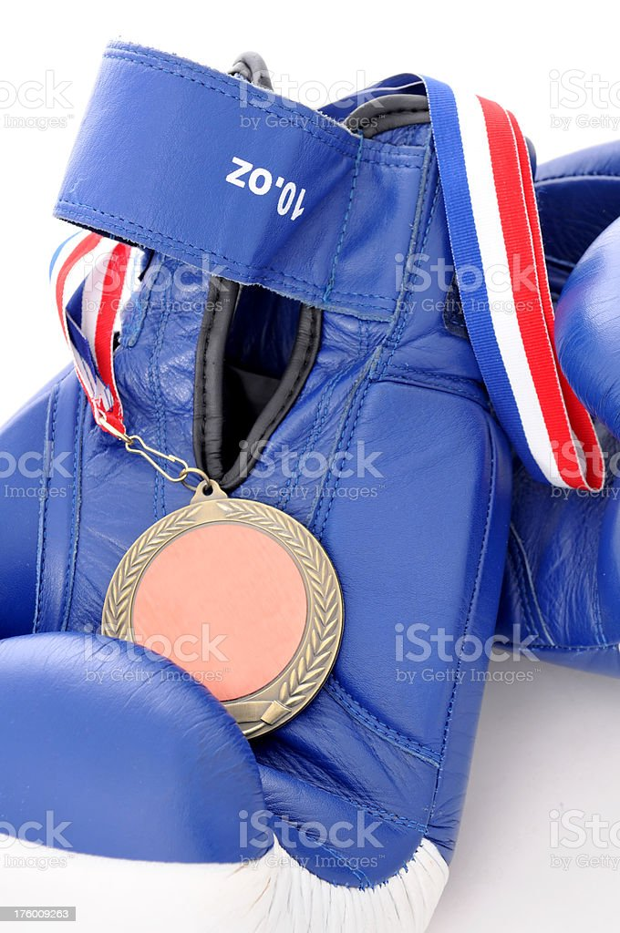boxing gloves and medal royalty-free stock photo