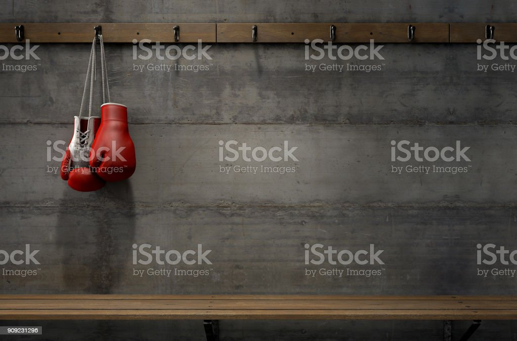Boxing Gloves Hanging In Change Room stock photo