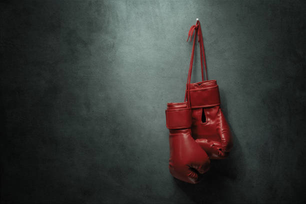 Boxing gloves hanging on the wall stock photo