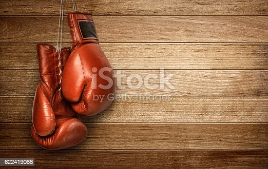 istock Boxing gloves hanging 622419068