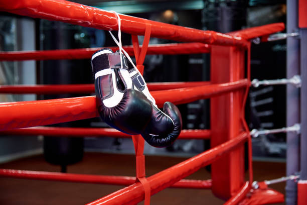 boxing gloves in a boxing ring with bags in the gym. - wrestling stock pictures, royalty-free photos & images