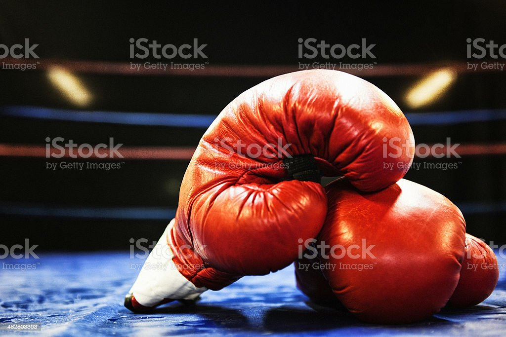 Boxing Gloves in Boxing.Ring stock photo
