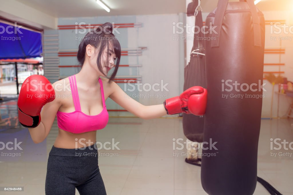 Boxing Gloves in Muay Thai gym stock photo
