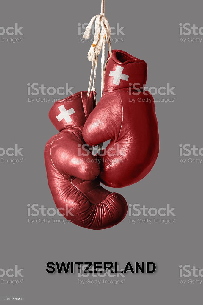 Boxing Gloves in the Color of Switzerland stock photo