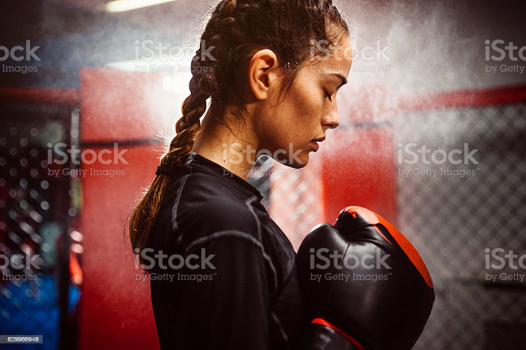 Boxing is her Passion stock photo