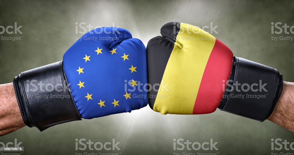 A boxing match between the European Union and Belgium stock photo
