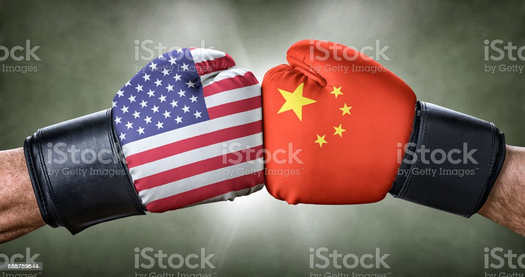 A boxing match between the USA and China stock photo