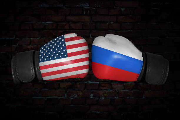 a boxing match between the usa and russia - box name foto e immagini stock