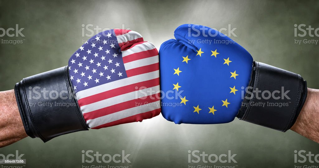 A boxing match between the USA and the European Union stock photo