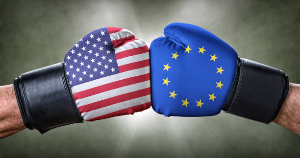 A boxing match between the USA and the European Union A boxing match between the USA and the European Union foreign affairs stock pictures, royalty-free photos & images