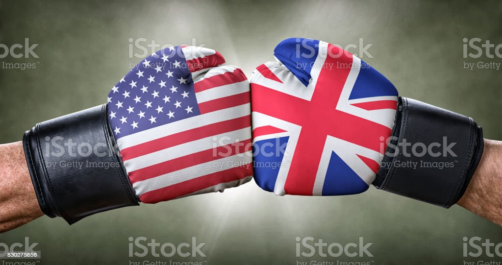 A boxing match between the USA and the UK stock photo