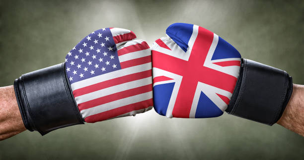 A boxing match between the USA and the UK A boxing match between the USA and the UK foreign affairs stock pictures, royalty-free photos & images