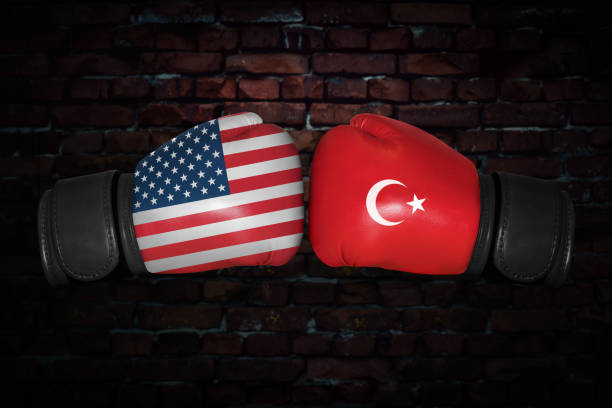 a boxing match between the usa and turkey - box name foto e immagini stock
