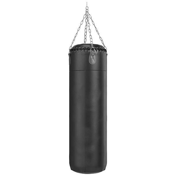 boxing birne mit chrom-kette - sandsäcke stock-fotos und bilder