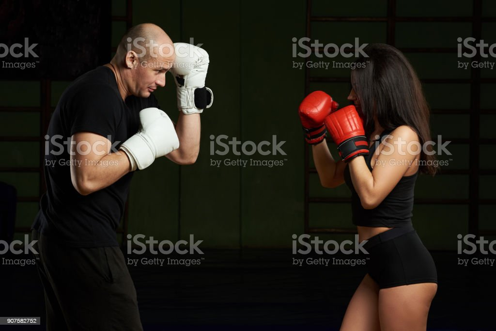 Boxing personal defense training stock photo