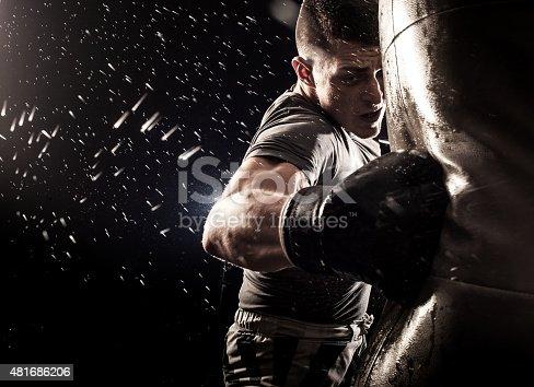 Young man boxing at the punching bag