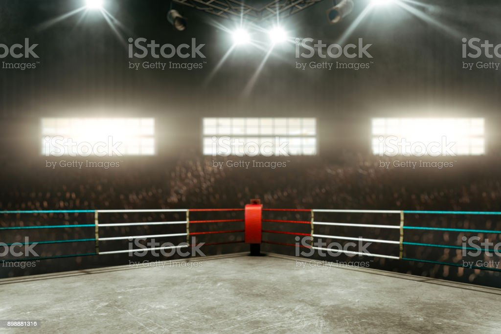 Boxing ring 3D render stock photo