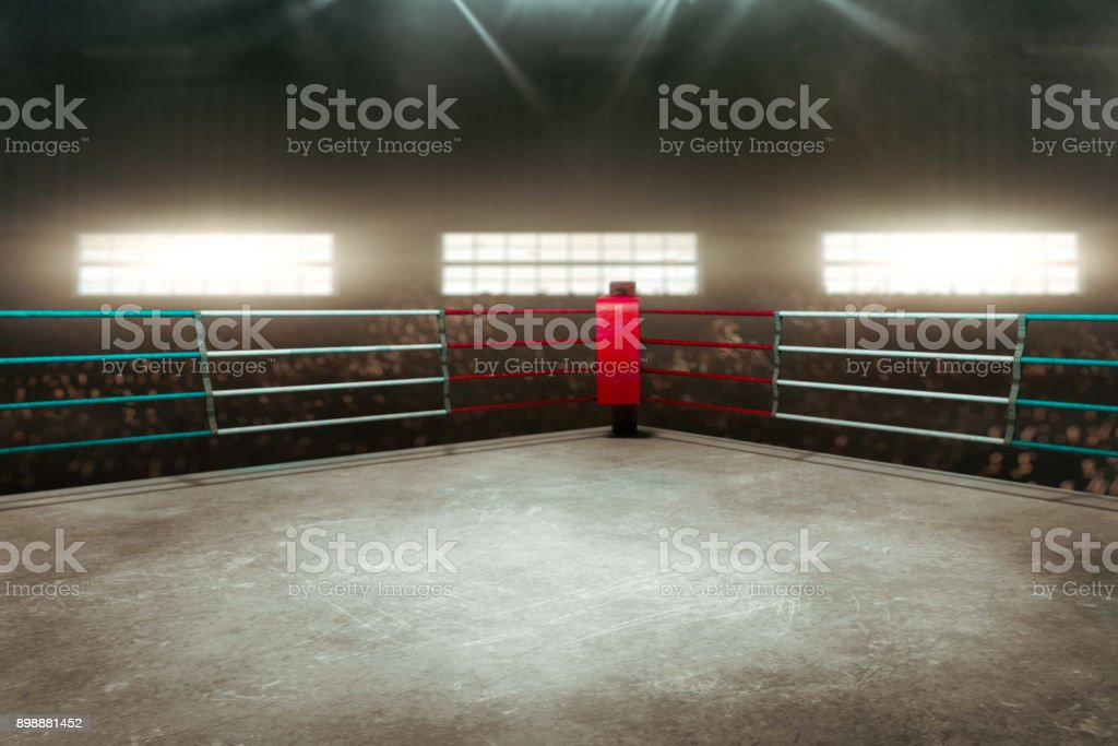 Boxing ring 3D render - foto stock