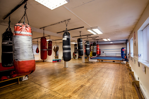 Open plan gym with a boxing ring and several varieties of punch bags hanging from the ceiling. The room looks tidy. No People