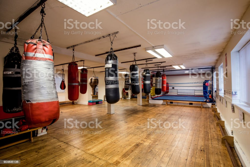 Boxing Ring and Fitness Gym stock photo