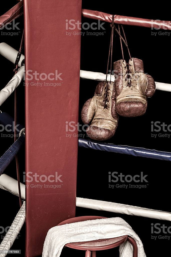 Boxing ring corner stock photo