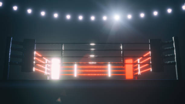 boxing ring in dramatic lighting. 3d render - wrestling stock pictures, royalty-free photos & images
