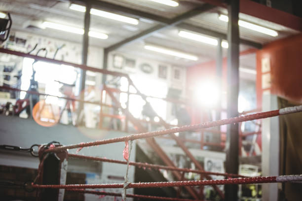 Boxing ring in fitness studio stock photo