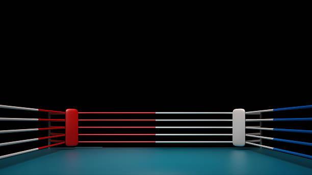 ring de boxeo aislado sobre fondo negro Renderizado 3d de alta resolución - foto de stock
