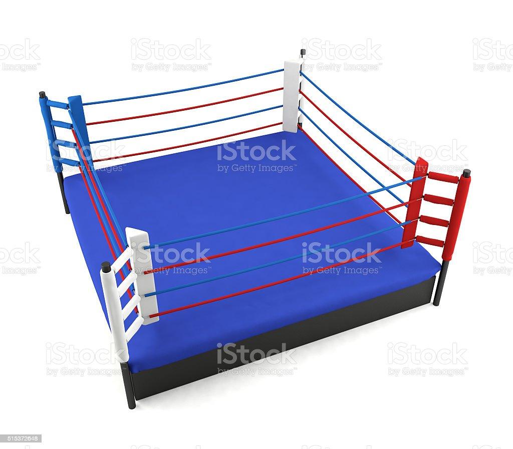 Boxing ring isolated on white background stock photo