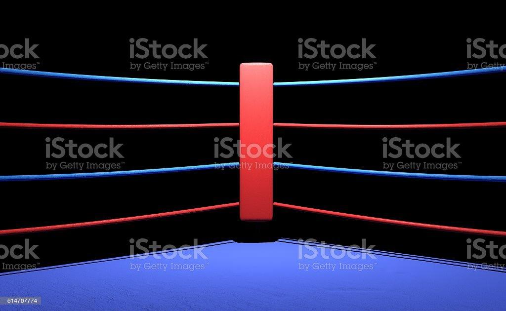 anello da pugilato rosso angolo di sfondo scuro - foto stock