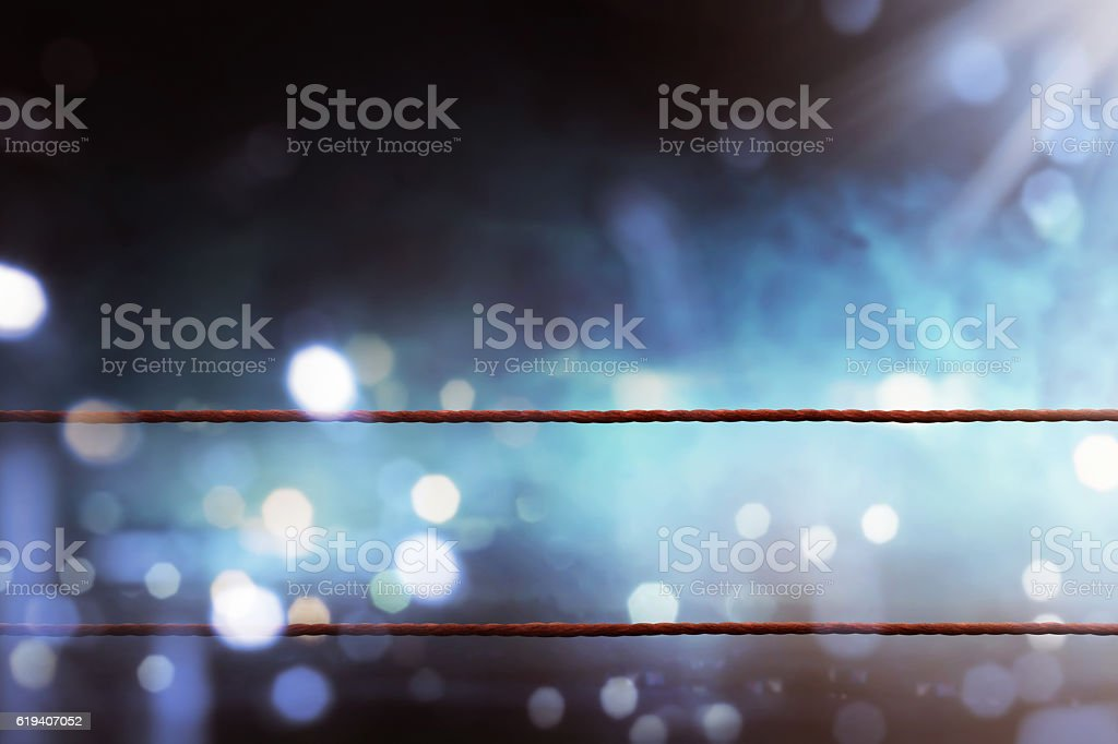 Boxing ring ropes stock photo