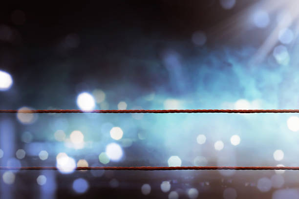 Boxing ring ropes stock photo